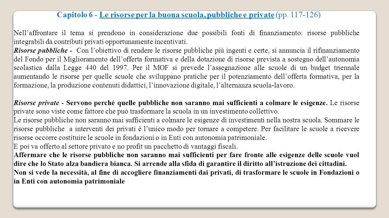 Capitolo 6 - Le risorse per la buona scuola, pubbliche e private (pp