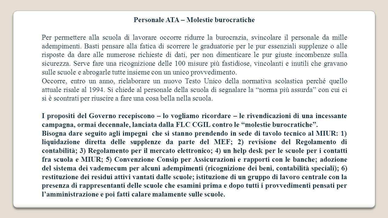 Personale ATA – Molestie burocratiche