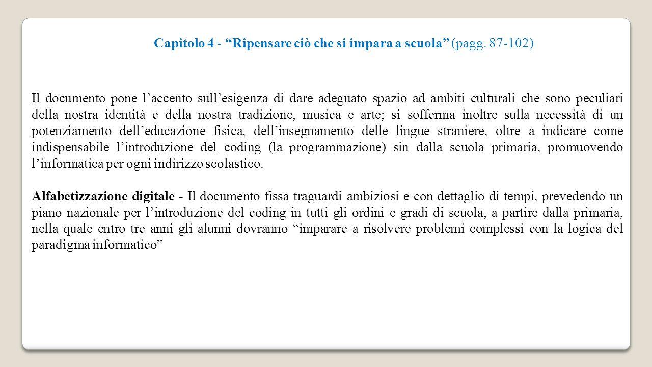 Capitolo 4 - Ripensare ciò che si impara a scuola (pagg. 87-102)