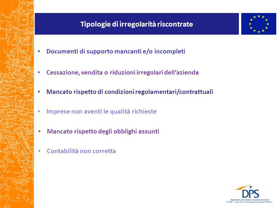 Tipologie di irregolarità riscontrate