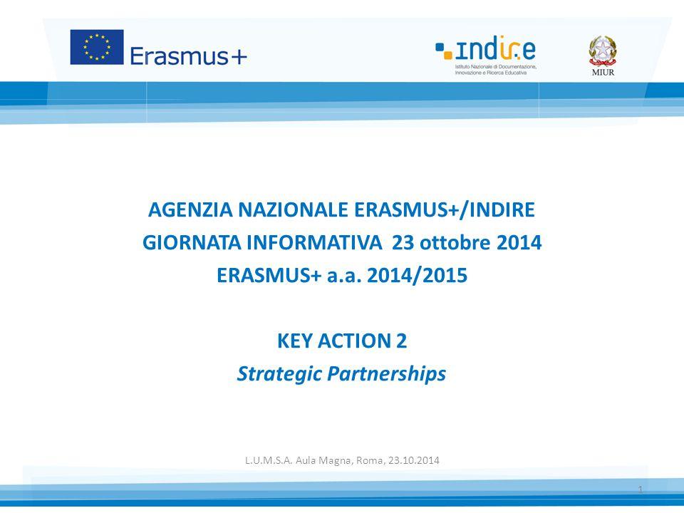 AGENZIA NAZIONALE ERASMUS+/INDIRE GIORNATA INFORMATIVA 23 ottobre 2014 ERASMUS+ a.a. 2014/2015 KEY ACTION 2 Strategic Partnerships