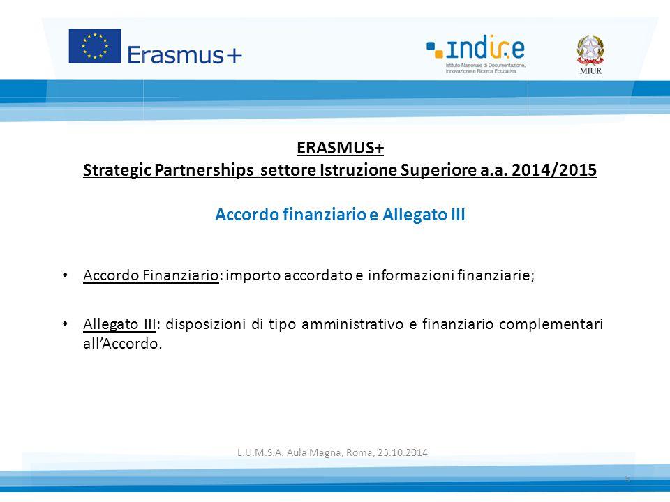 ERASMUS+ Strategic Partnerships settore Istruzione Superiore a. a