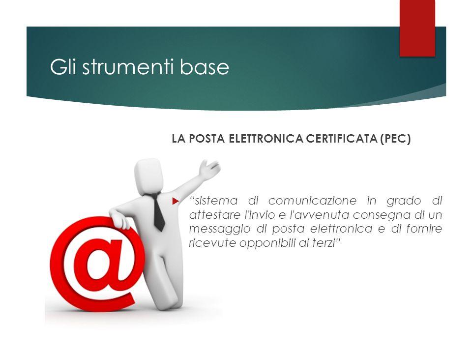 Gli strumenti base LA POSTA ELETTRONICA CERTIFICATA (PEC)