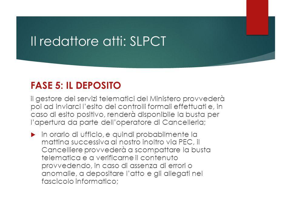 Il redattore atti: SLPCT