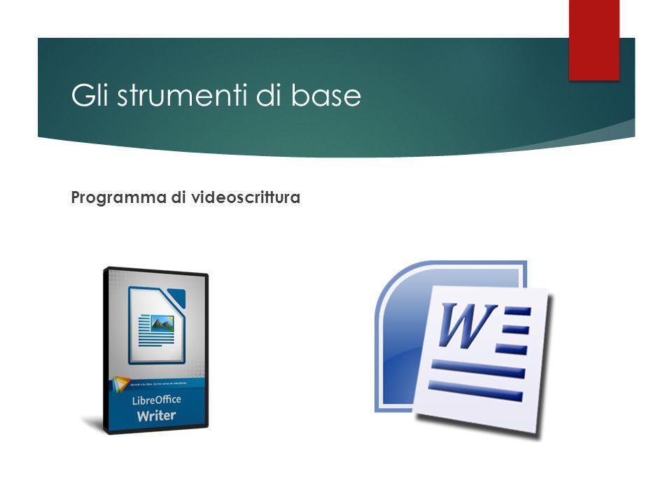 Gli strumenti di base Programma di videoscrittura