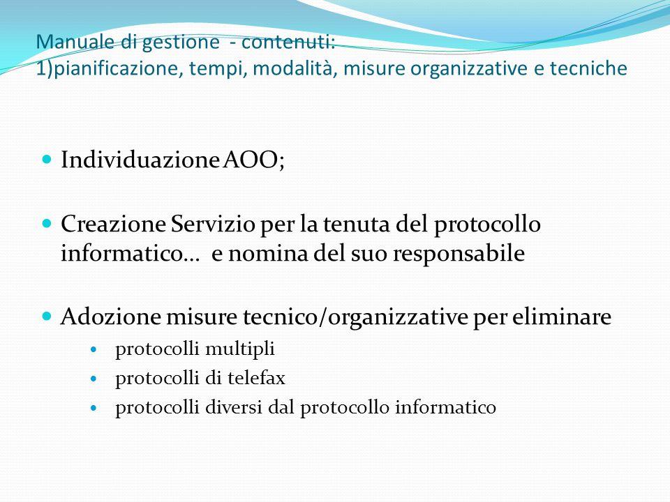 Adozione misure tecnico/organizzative per eliminare