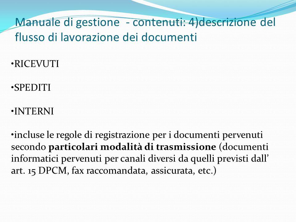 Manuale di gestione - contenuti: 4)descrizione del flusso di lavorazione dei documenti
