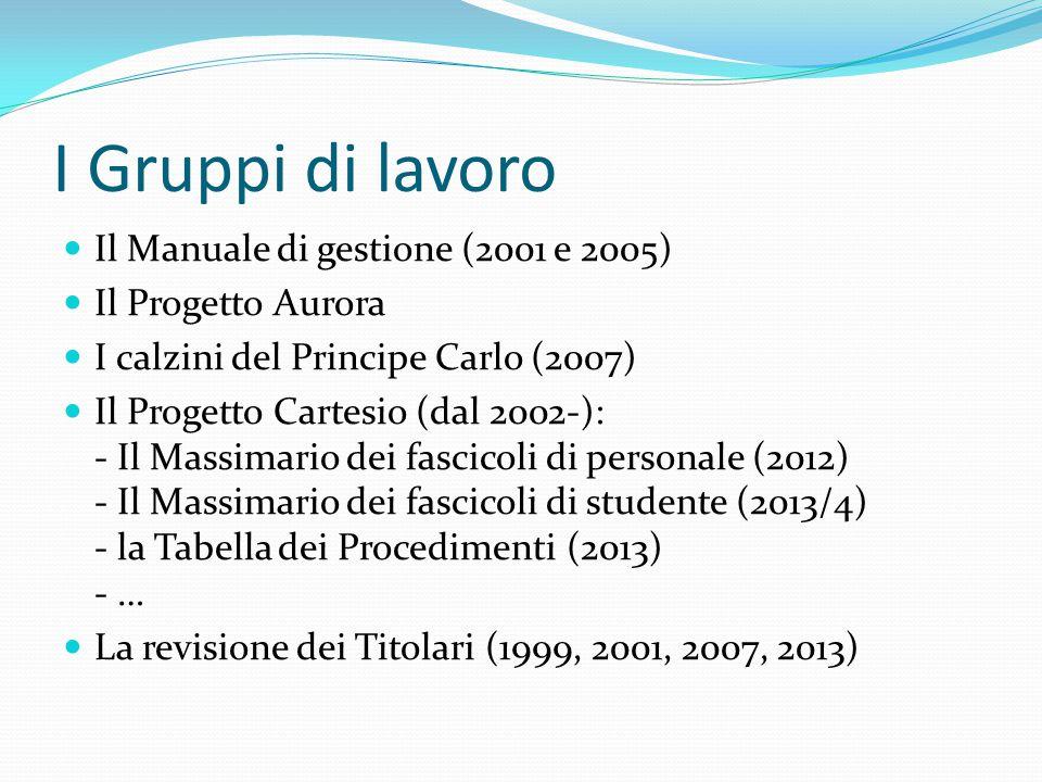 I Gruppi di lavoro Il Manuale di gestione (2001 e 2005)