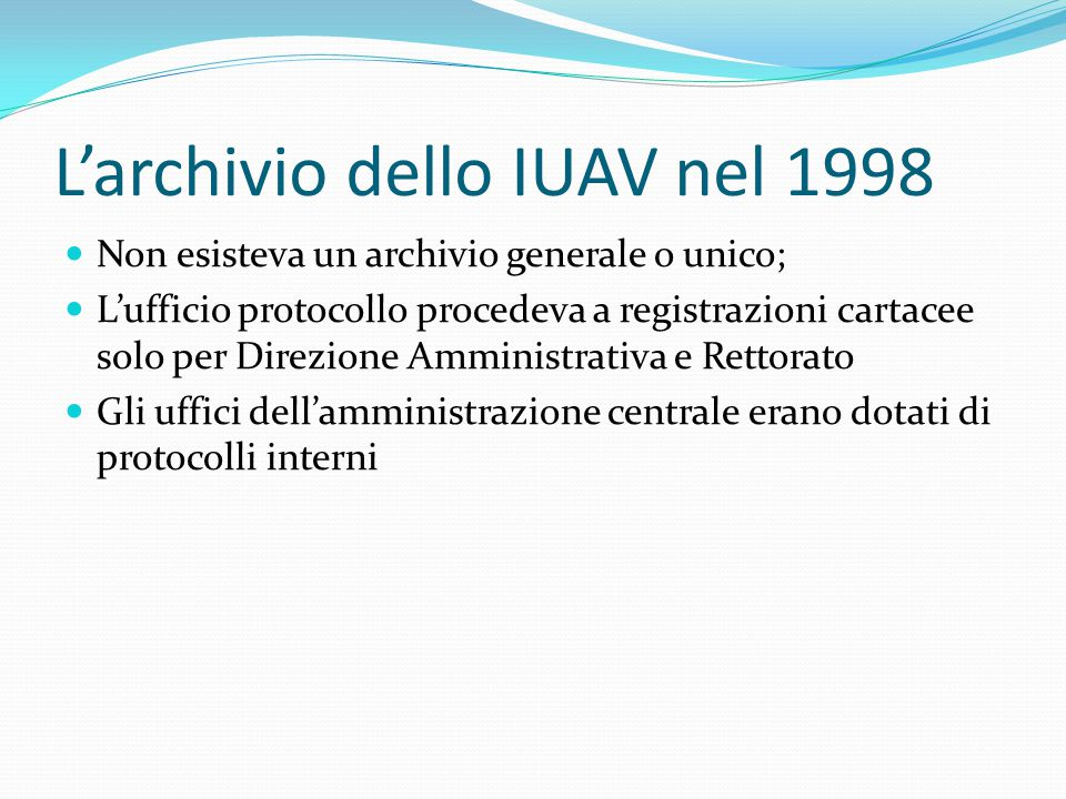 L'archivio dello IUAV nel 1998
