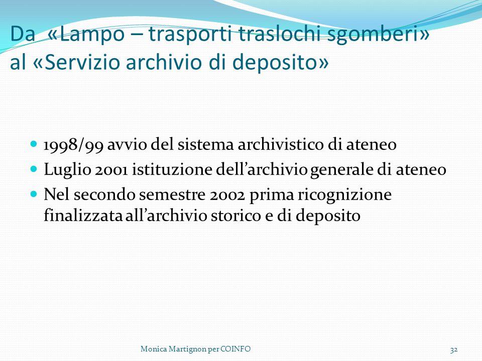 Da «Lampo – trasporti traslochi sgomberi» al «Servizio archivio di deposito»