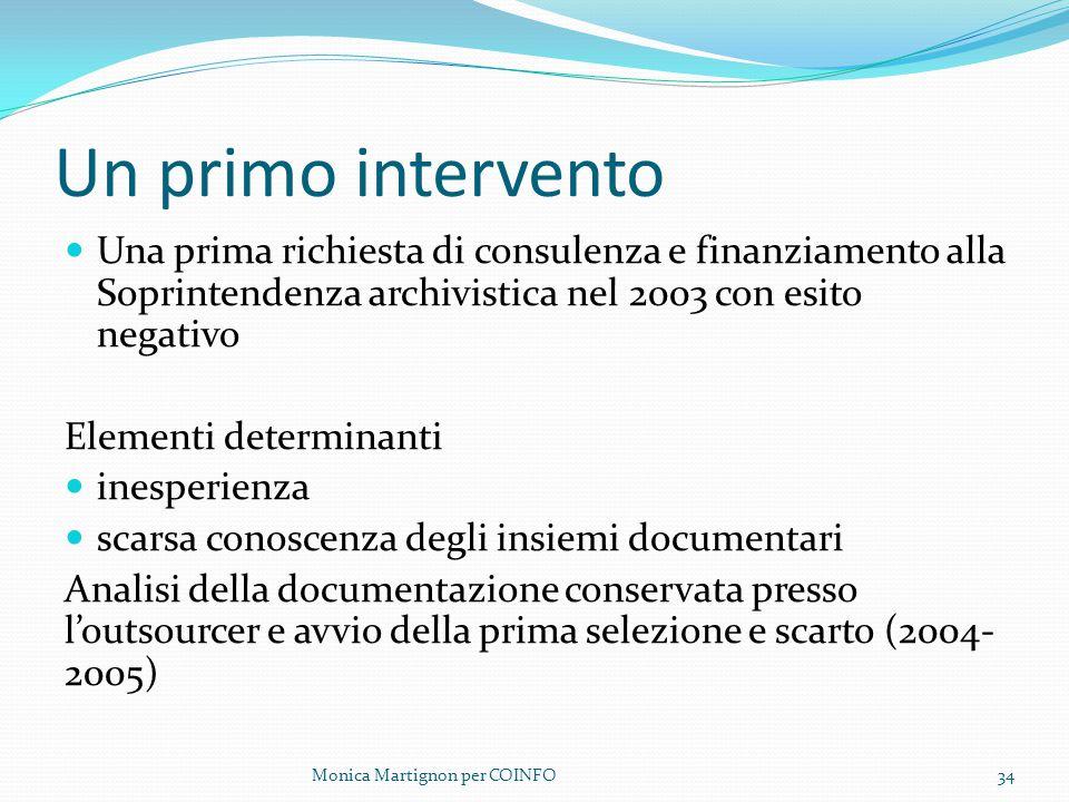 Un primo intervento Una prima richiesta di consulenza e finanziamento alla Soprintendenza archivistica nel 2003 con esito negativo.