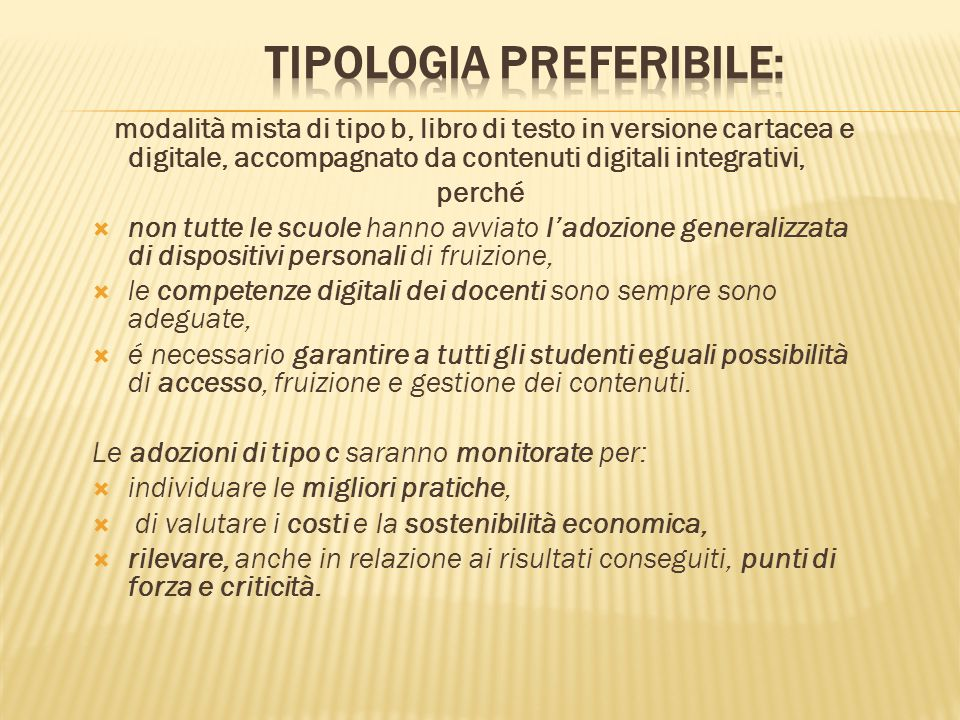 TIPOLOGIA PREFERIBILE: