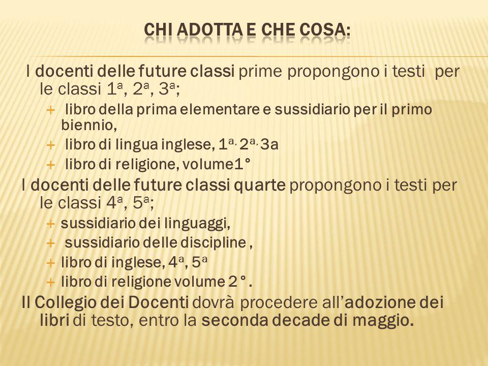 Chi adotta e che cosa: I docenti delle future classi prime propongono i testi per le classi 1a, 2a, 3a;