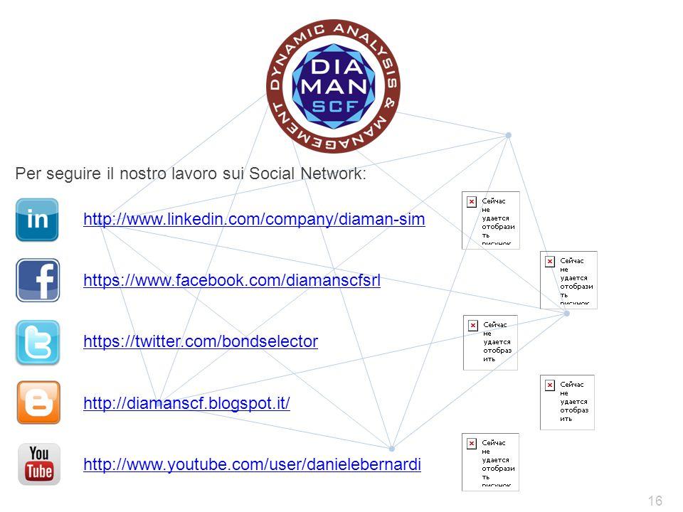 Per seguire il nostro lavoro sui Social Network: