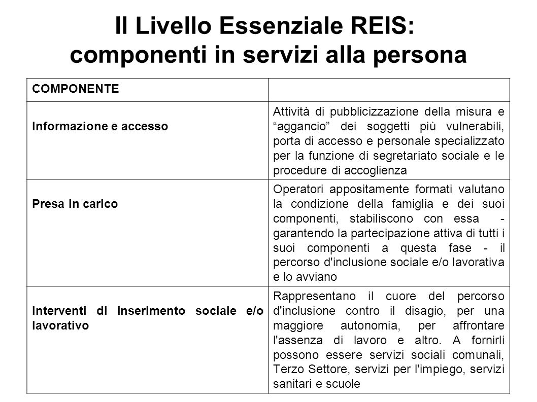 Il Livello Essenziale REIS: componenti in servizi alla persona
