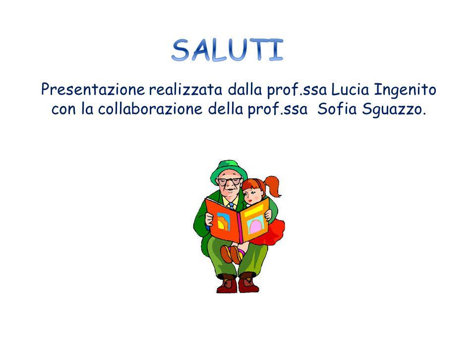 SALUTI Presentazione realizzata dalla prof.ssa Lucia Ingenito con la collaborazione della prof.ssa Sofia Sguazzo.