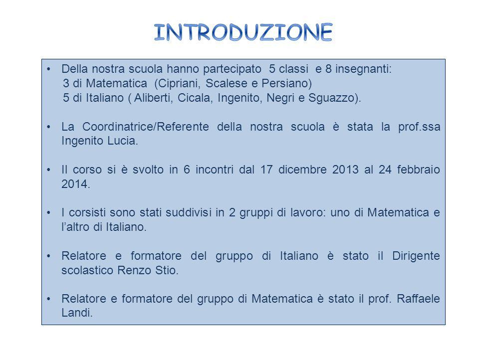 INTRODUZIONE Della nostra scuola hanno partecipato 5 classi e 8 insegnanti: 3 di Matematica (Cipriani, Scalese e Persiano)
