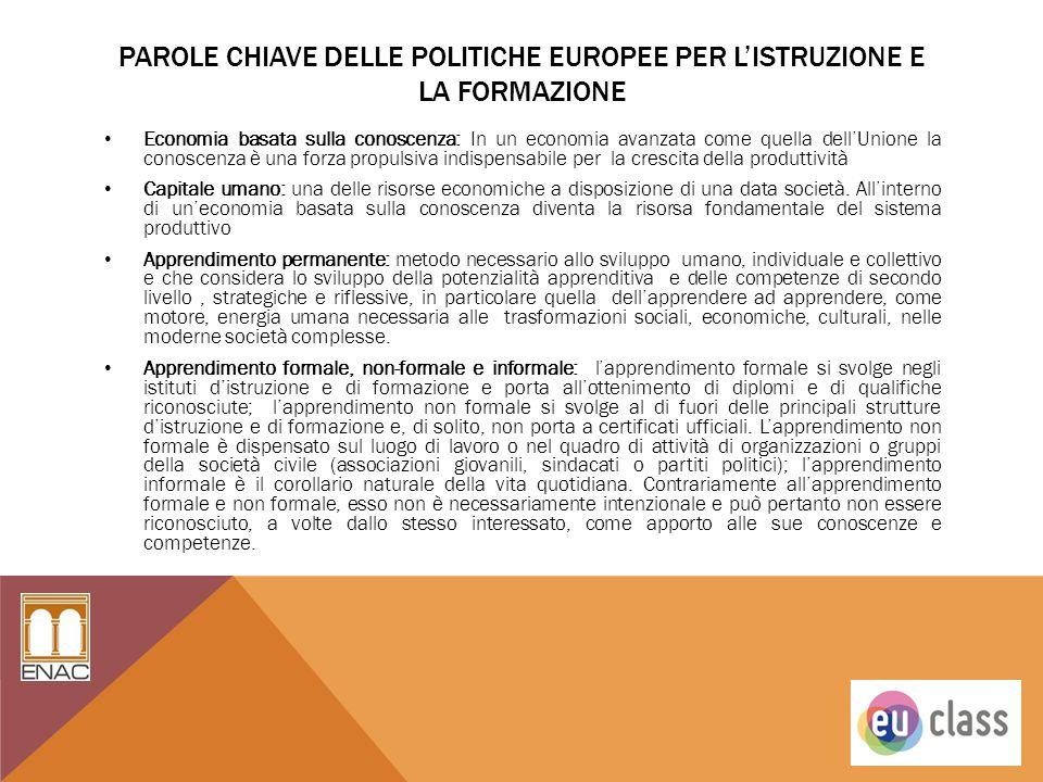 Parole chiave delle politiche Europee per l'istruzione e la formazione
