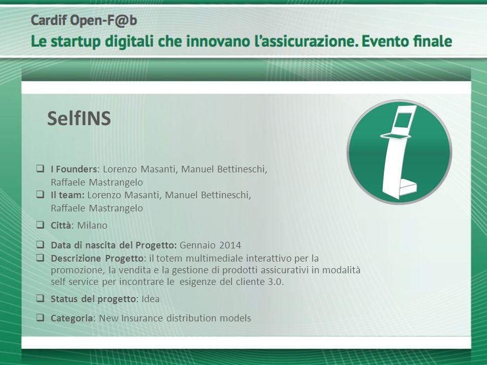 SelfINS I Founders: Lorenzo Masanti, Manuel Bettineschi, Raffaele Mastrangelo.