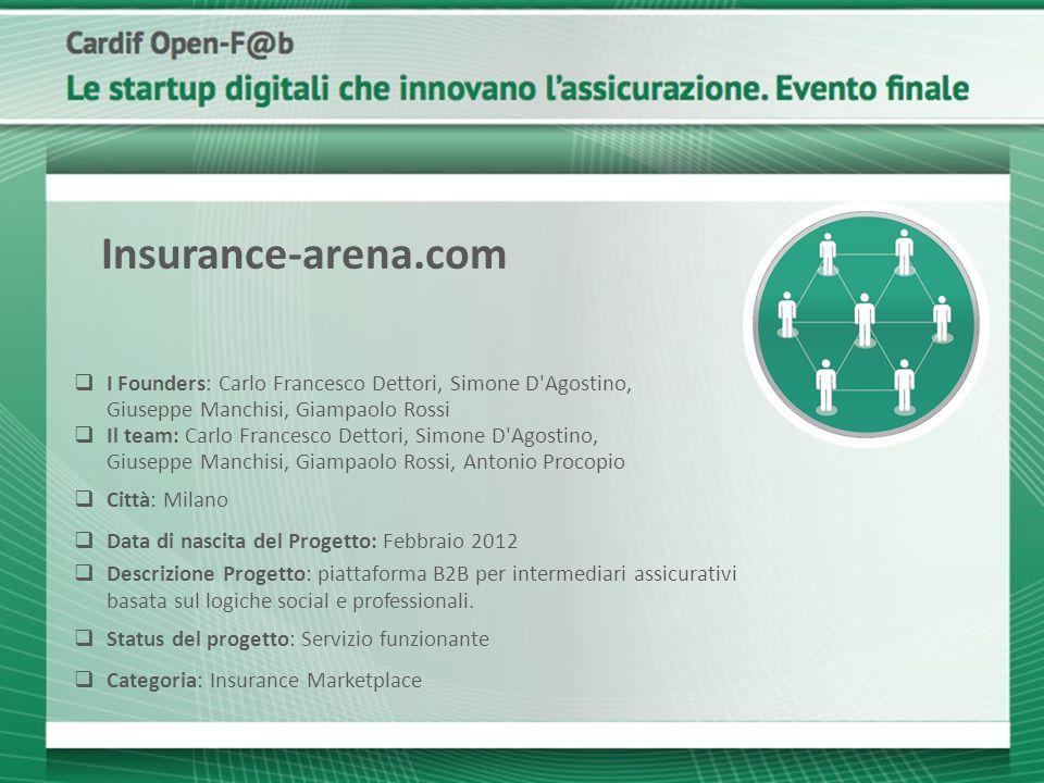 Insurance-arena.com I Founders: Carlo Francesco Dettori, Simone D Agostino, Giuseppe Manchisi, Giampaolo Rossi.