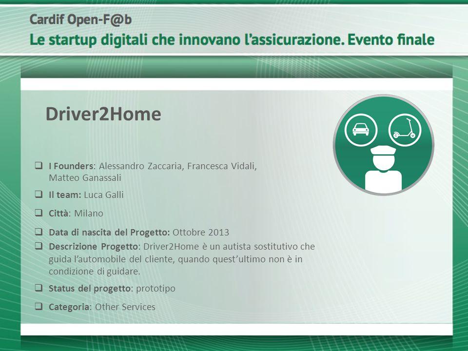 Driver2Home I Founders: Alessandro Zaccaria, Francesca Vidali, Matteo Ganassali.