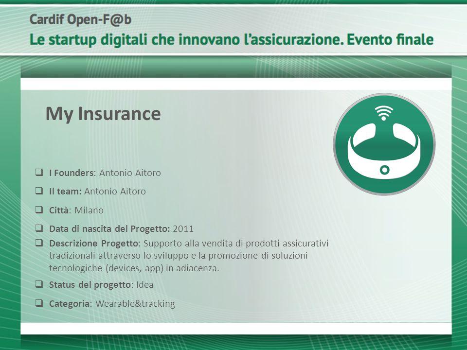 My Insurance I Founders: Antonio Aitoro Il team: Antonio Aitoro