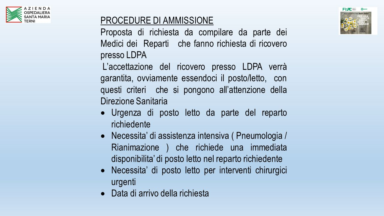 PROCEDURE DI AMMISSIONE