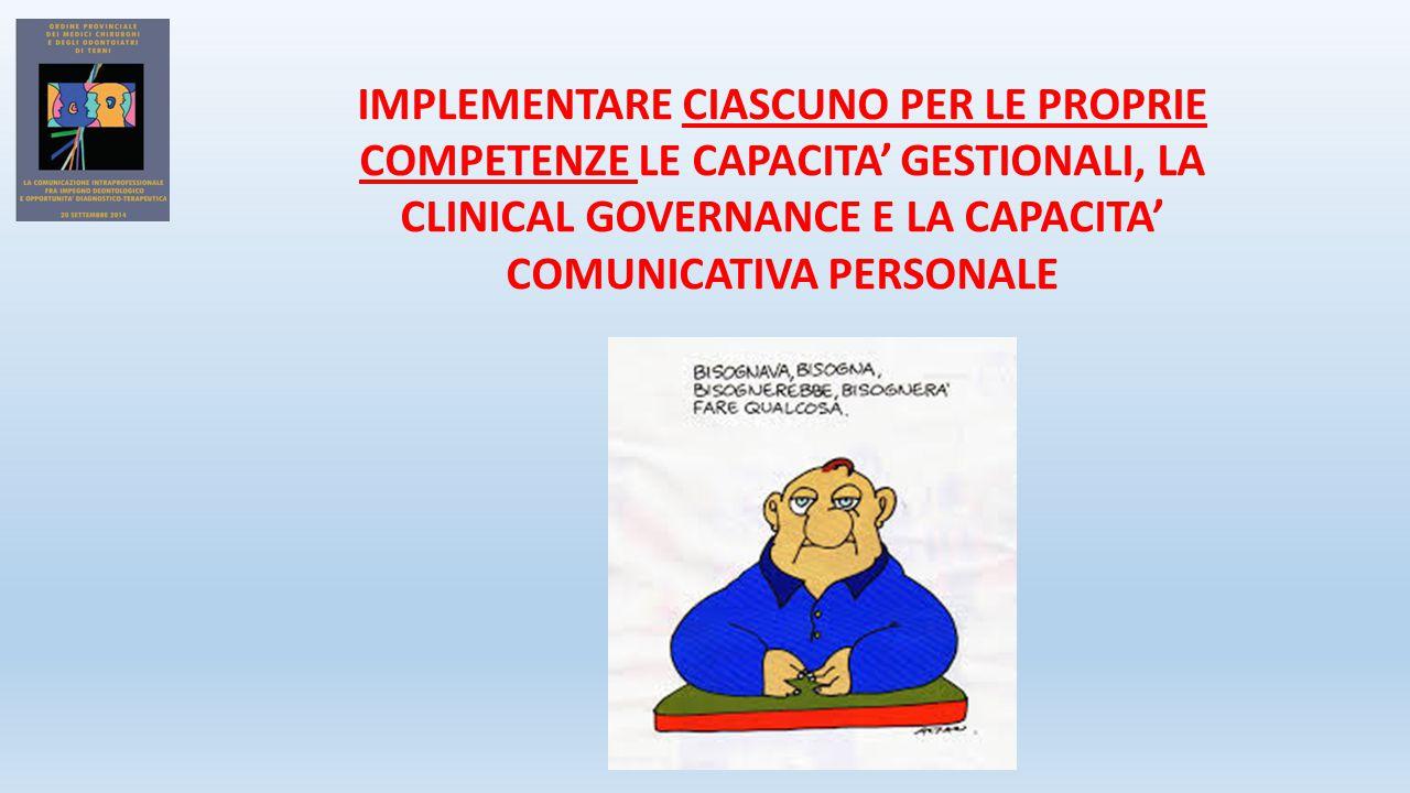 IMPLEMENTARE CIASCUNO PER LE PROPRIE COMPETENZE LE CAPACITA' GESTIONALI, LA CLINICAL GOVERNANCE E LA CAPACITA' COMUNICATIVA PERSONALE