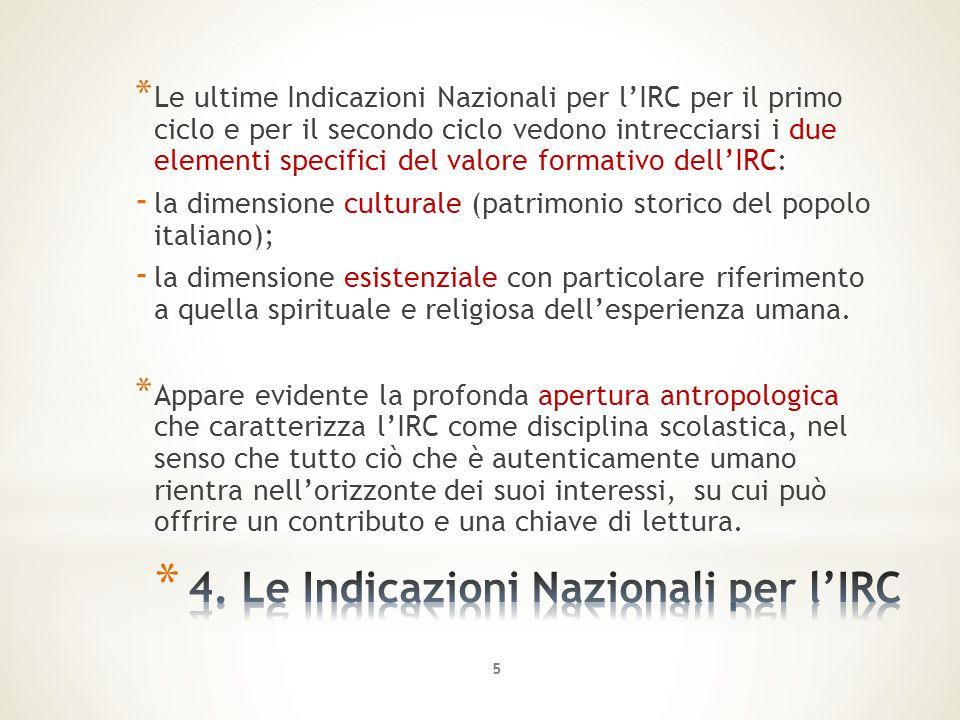 4. Le Indicazioni Nazionali per l'IRC