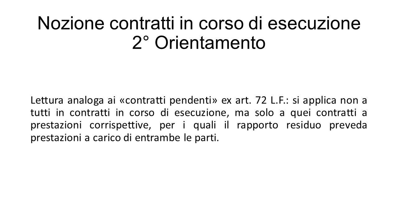 Nozione contratti in corso di esecuzione 2° Orientamento