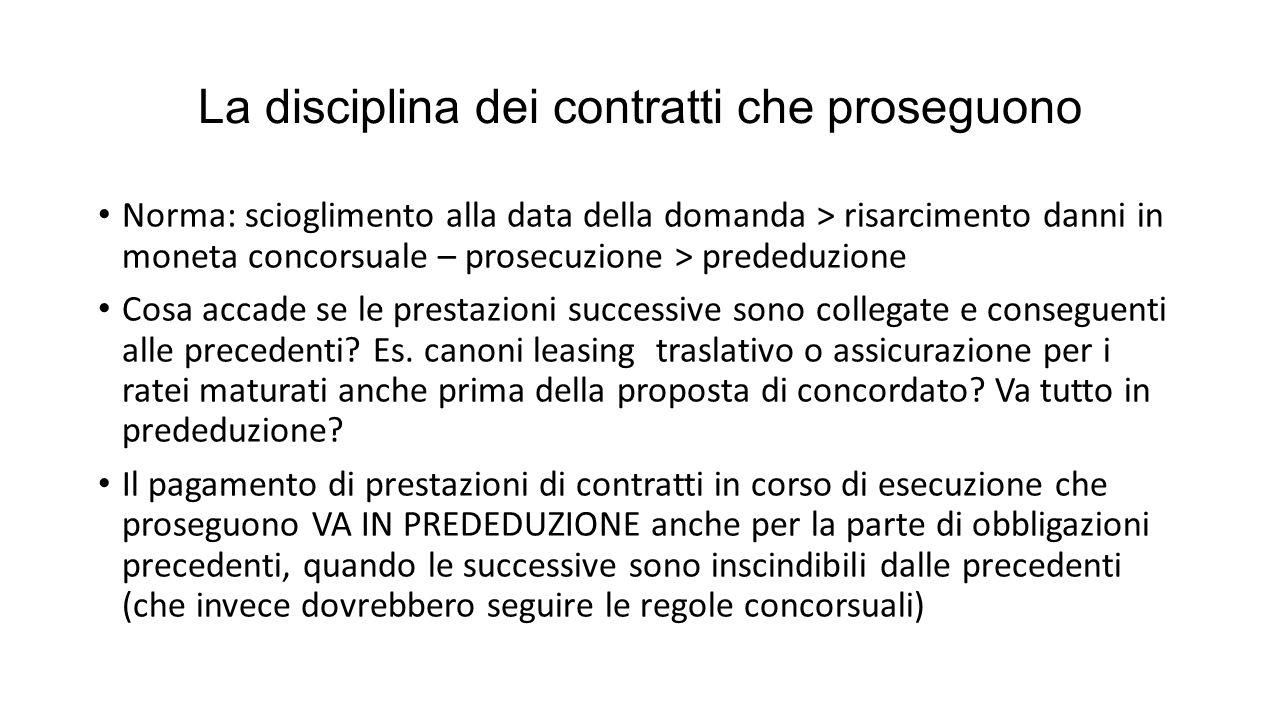 La disciplina dei contratti che proseguono