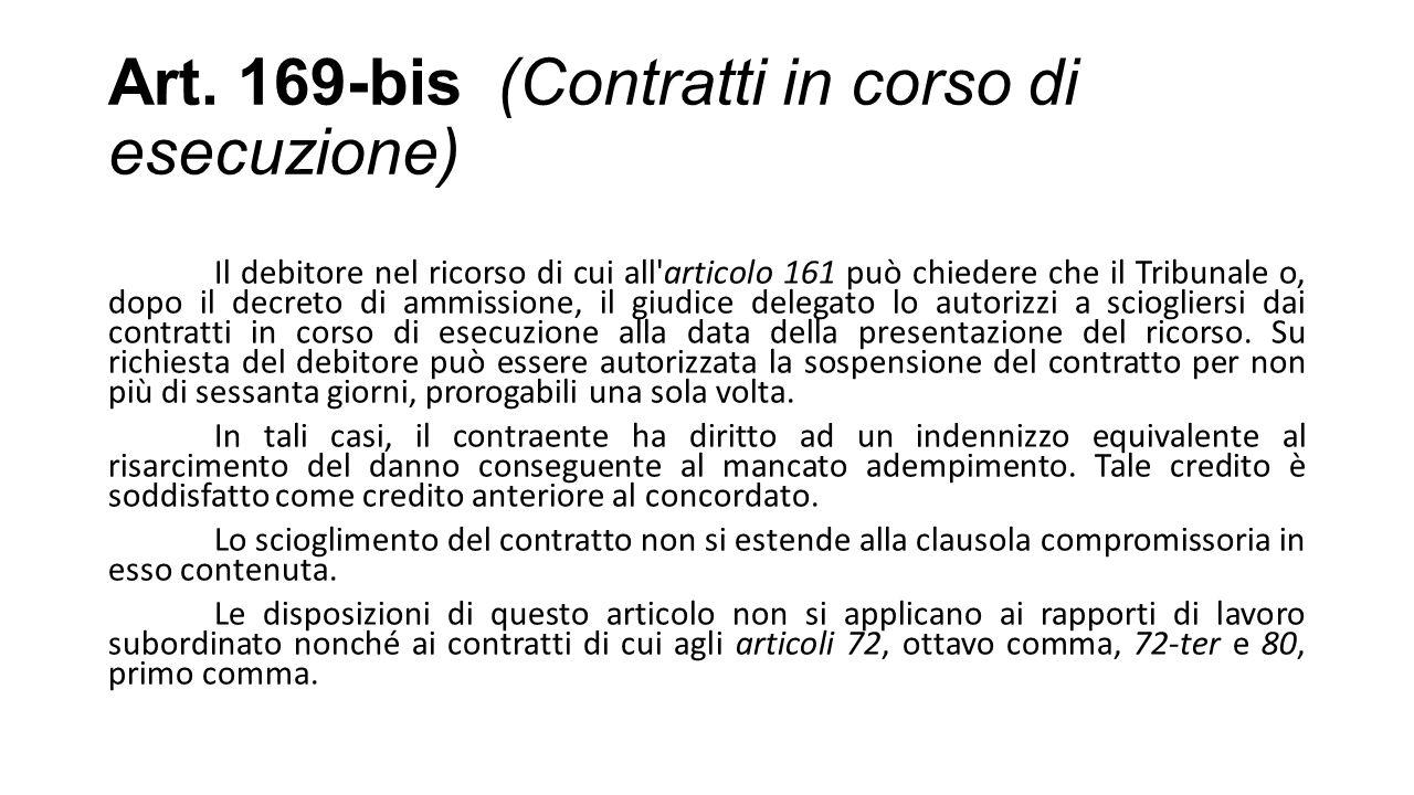 Art. 169-bis (Contratti in corso di esecuzione)