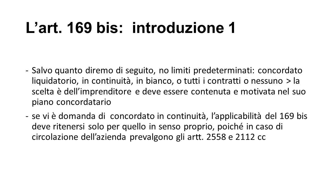 L'art. 169 bis: introduzione 1