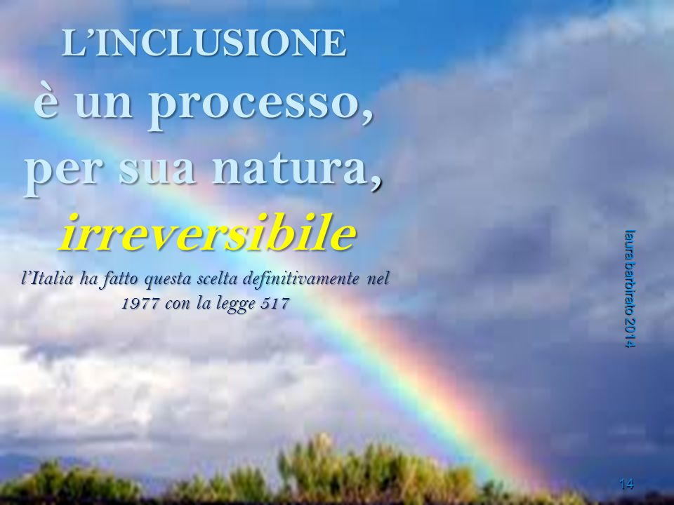 L'INCLUSIONE è un processo, per sua natura, irreversibile l'Italia ha fatto questa scelta definitivamente nel 1977 con la legge 517