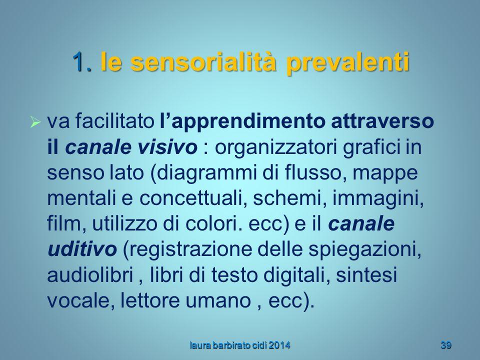 1. le sensorialità prevalenti
