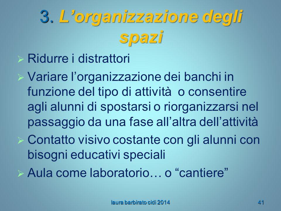 3. L'organizzazione degli spazi