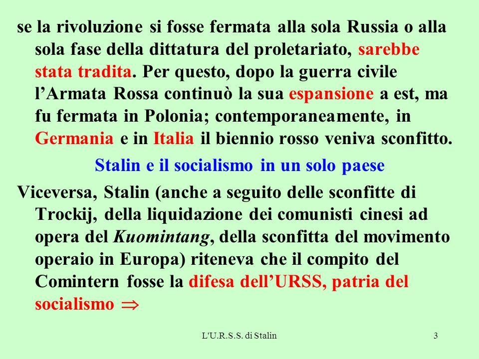 Stalin e il socialismo in un solo paese