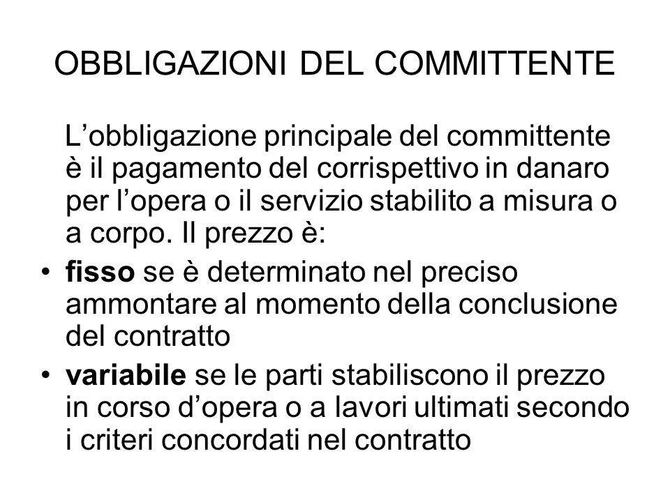 OBBLIGAZIONI DEL COMMITTENTE