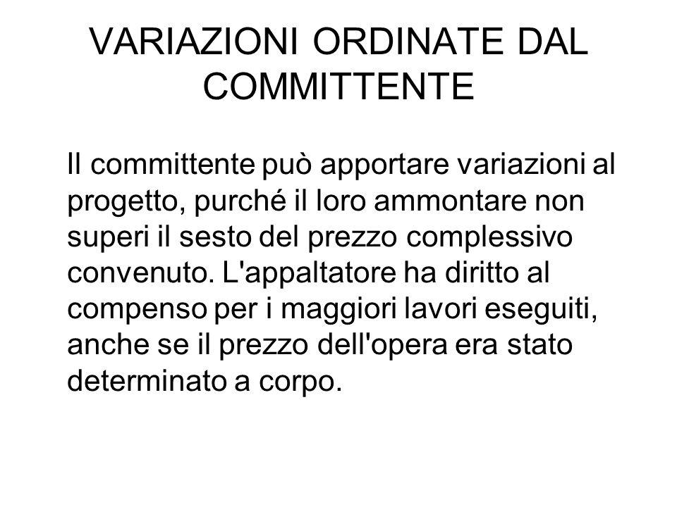 VARIAZIONI ORDINATE DAL COMMITTENTE