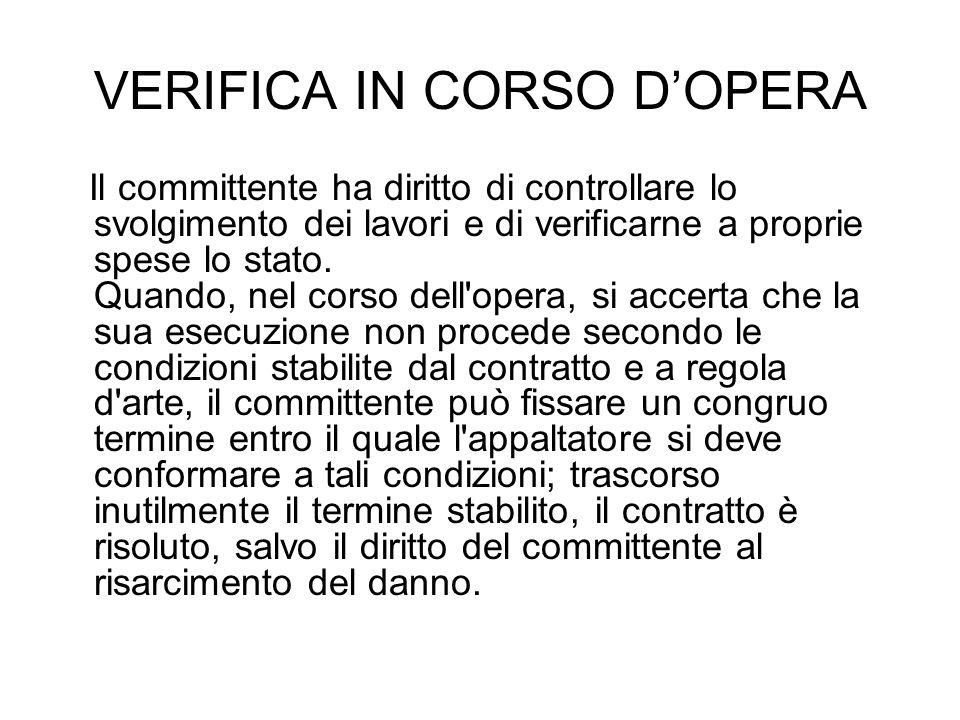 VERIFICA IN CORSO D'OPERA