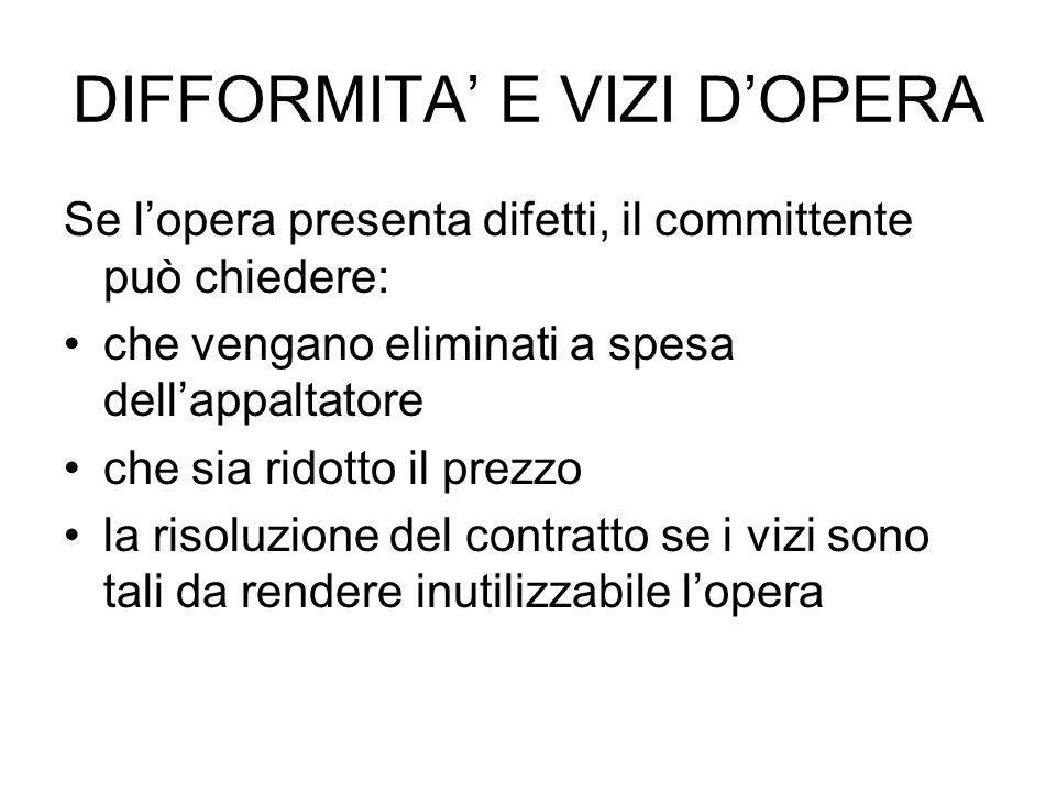 DIFFORMITA' E VIZI D'OPERA
