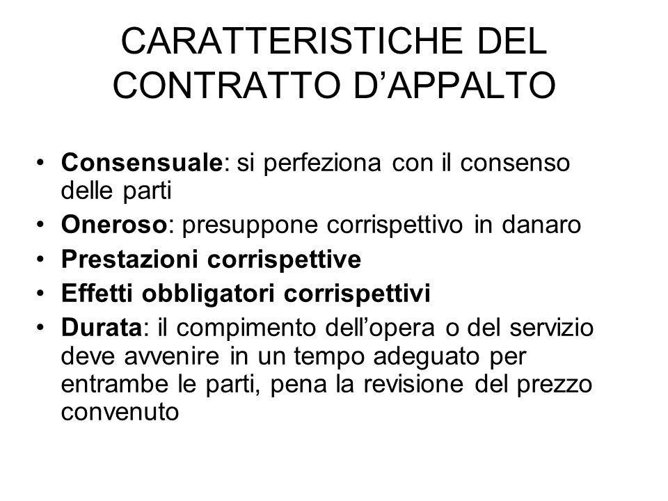 CARATTERISTICHE DEL CONTRATTO D'APPALTO