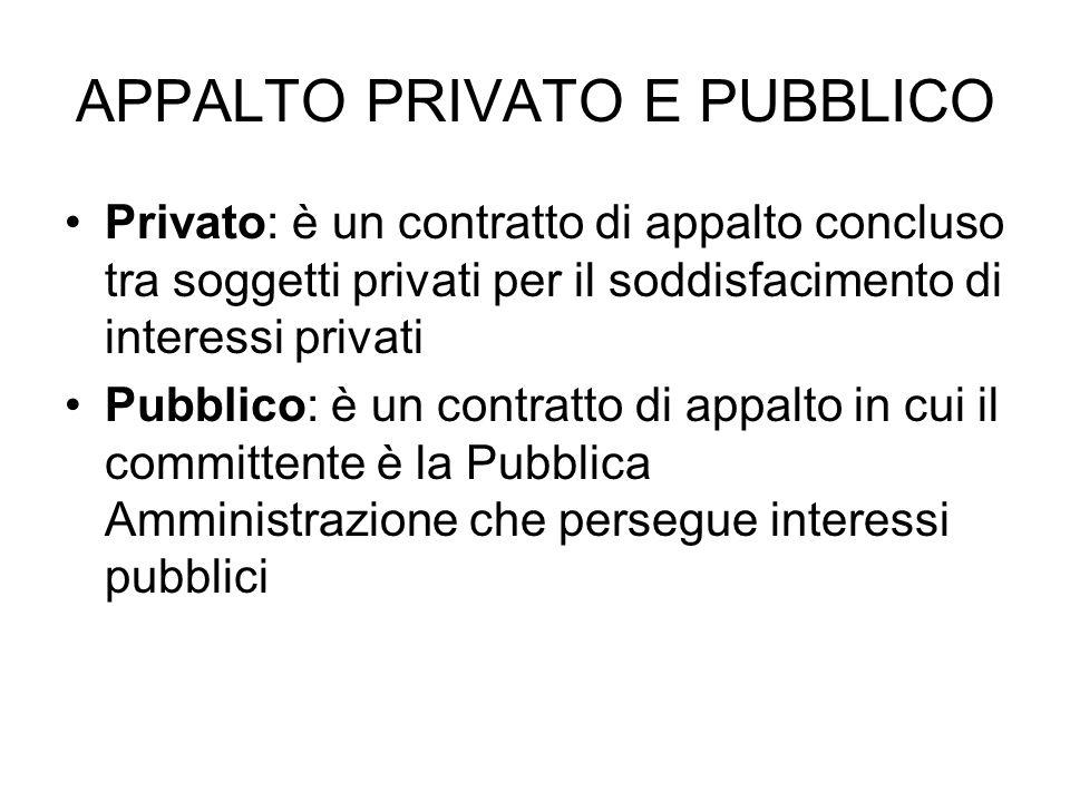 APPALTO PRIVATO E PUBBLICO