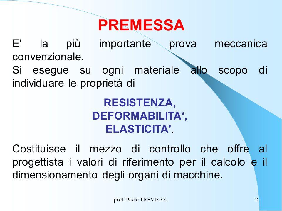 PREMESSA E la più importante prova meccanica convenzionale.
