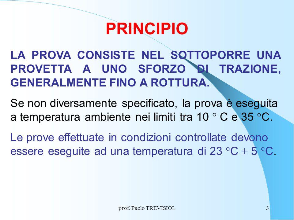 PRINCIPIO LA PROVA CONSISTE NEL SOTTOPORRE UNA PROVETTA A UNO SFORZO DI TRAZIONE, GENERALMENTE FINO A ROTTURA.