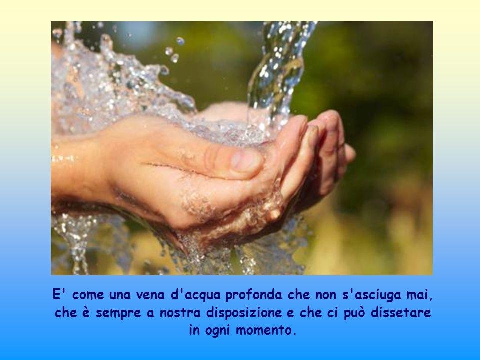 E come una vena d acqua profonda che non s asciuga mai, che è sempre a nostra disposizione e che ci può dissetare in ogni momento.