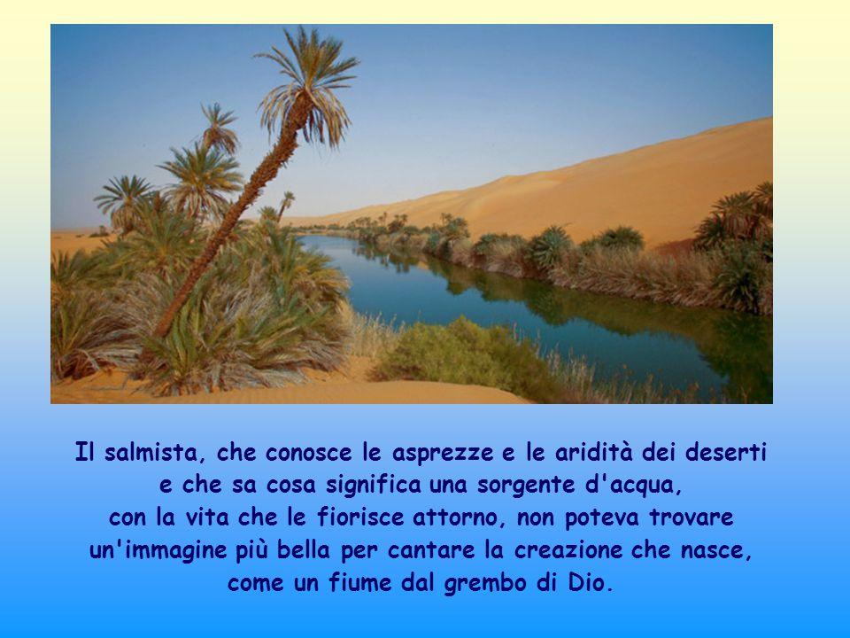 Il salmista, che conosce le asprezze e le aridità dei deserti e che sa cosa significa una sorgente d acqua, con la vita che le fiorisce attorno, non poteva trovare un immagine più bella per cantare la creazione che nasce, come un fiume dal grembo di Dio.
