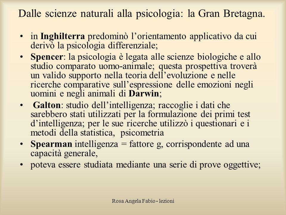Dalle scienze naturali alla psicologia: la Gran Bretagna.