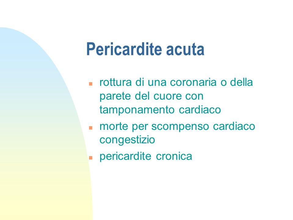 Pericardite acuta rottura di una coronaria o della parete del cuore con tamponamento cardiaco. morte per scompenso cardiaco congestizio.