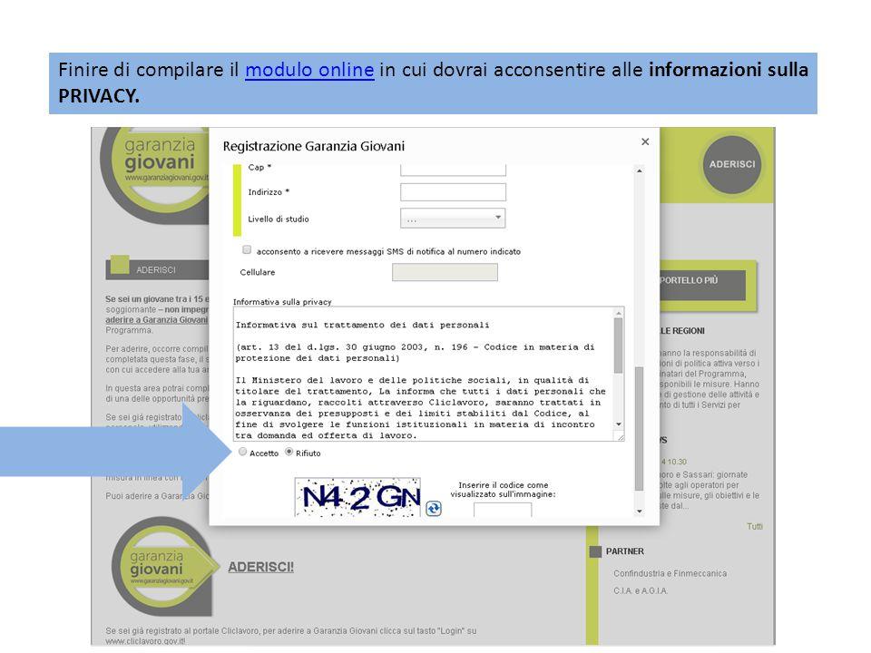 Finire di compilare il modulo online in cui dovrai acconsentire alle informazioni sulla PRIVACY.